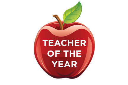 Red apple with teacher of the year written on it