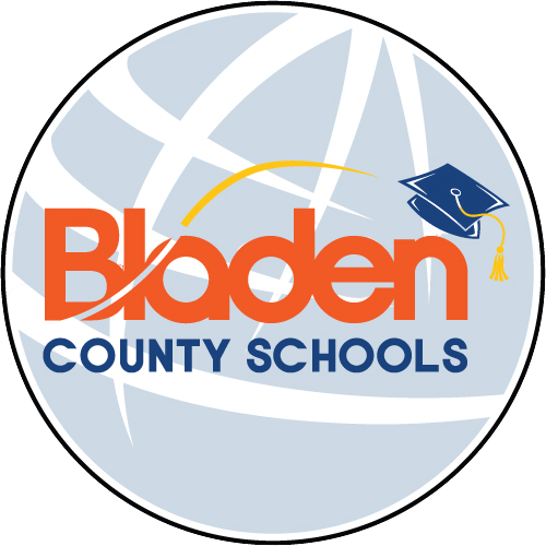 globe with Bladen County Schools logo across it