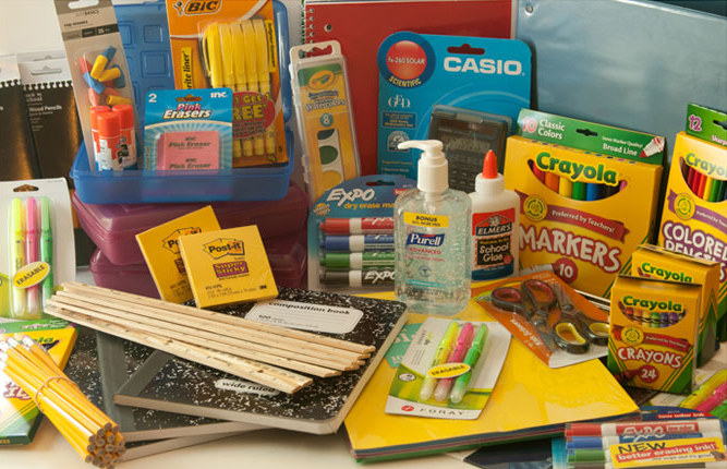 Display of school supplies for classroom