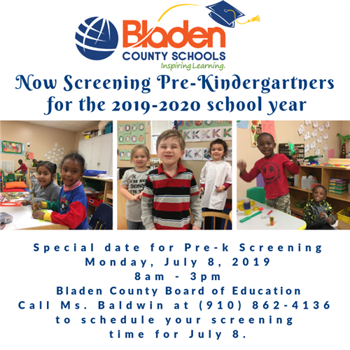 Prekindergarten screening on July 8 at boe