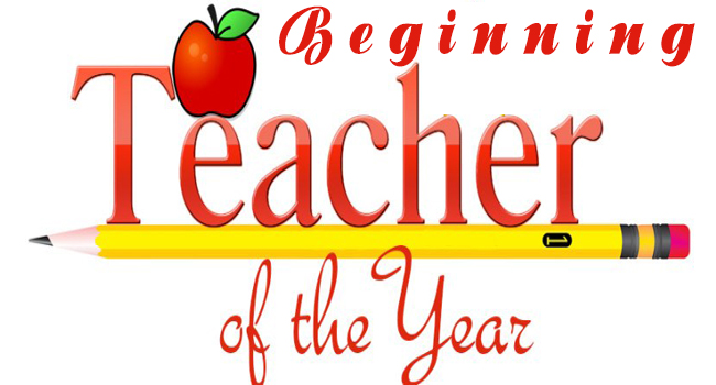 apple logo of beginning teacher of the year