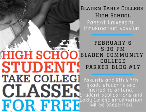 flyer for parent information session at the early college