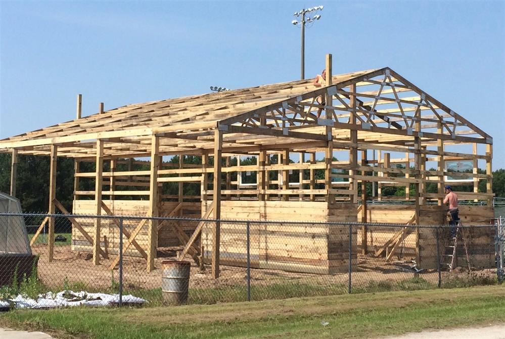 Barn being built