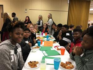 group of job shadow students eating lunch