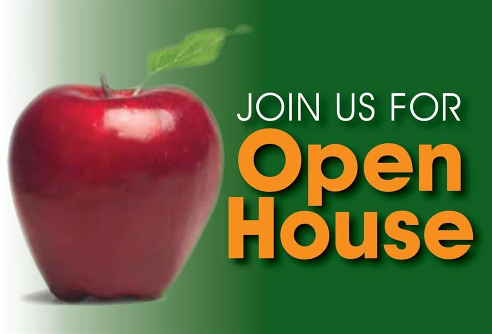Red apple with text of join us for open house