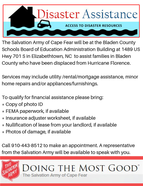 Salvation Army Disaster Assistance flyer