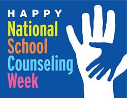 Logo of National School Counseling Week with hands
