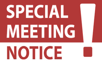 rubber stamp with special called meeting notice
