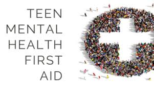 group of teens circling around mental health first aid logo