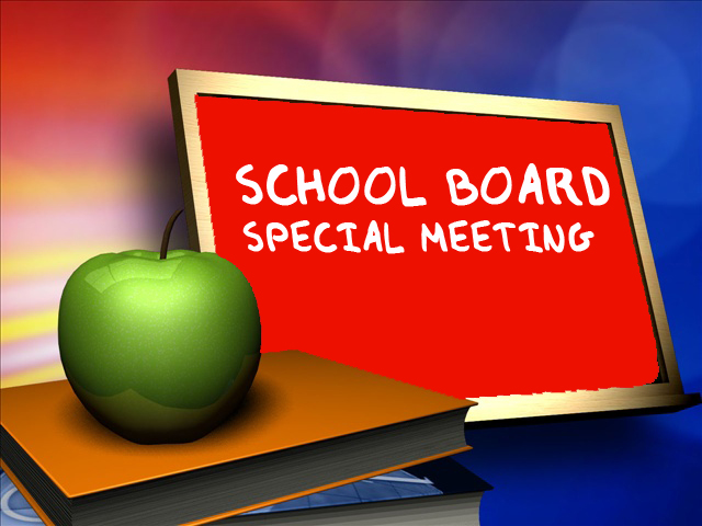 chalkboard with wording of special called board meeting