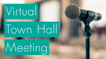 microphone with words virtual town hall meeting